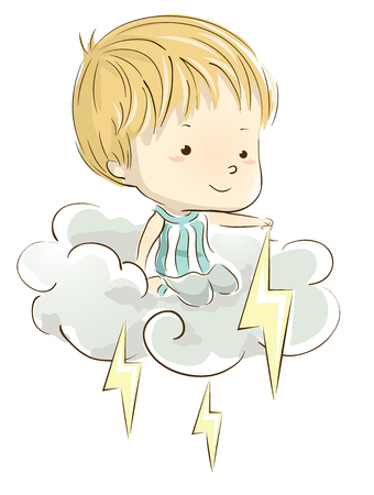 dreamland: Whimsical Illustration of a Little Boy Playing with Lightning  Bolts While Sitting on a Storm Cloud