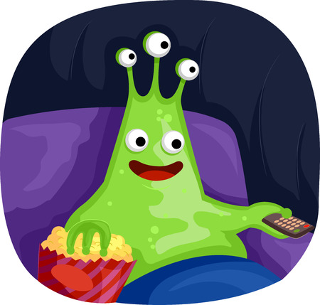 Sci-fi Illustration Featuring a Three Eyed Alien Mascot Eating Popcorn While Watching a Movie Stock Photo