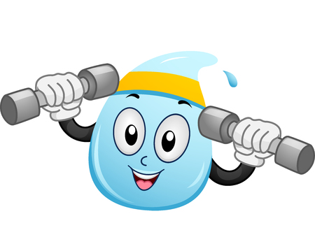 drop of water: Mascot Illustration of a Water Droplet with a Headband Wrapped Around its Head Lifting Dumbbells