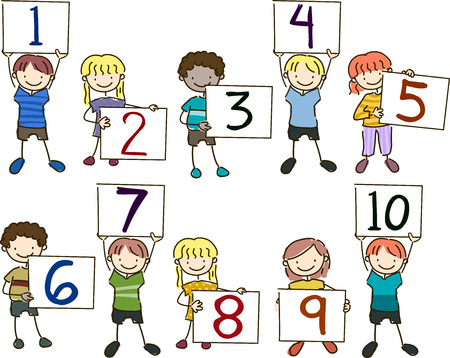 segurar: Stickman Illustration of a Group of Preschool Kids Holding Up Boards with Numbers Written on Them