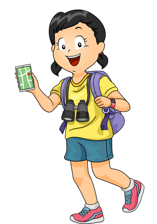 Illustration of a Little Girl with a Pair of Binoculars Hanging from Her Neck Consulting a Navigation App Stock Photo