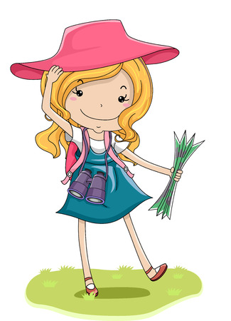 Illustration of a Cute Little Girl in a Pink Wide Brimmed Hat with a Pair of Binoculars Hanging From Her Neck Holding a Map Stock Photo