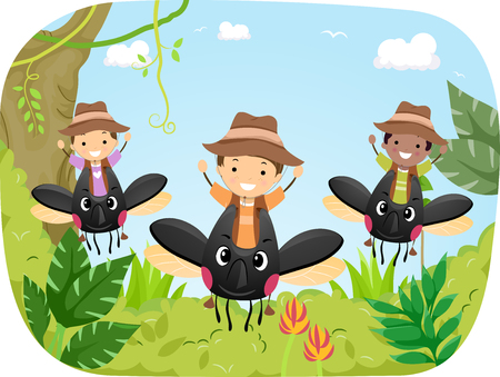 Stickman Illustration of a Group of Preschool Kids Riding Giant Beetles in a Rainforest