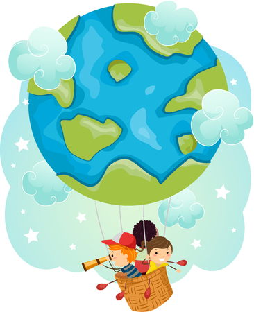group of kids: Stickman Illustration of a Group of Preschool Kids Traveling in a Hot Air Balloon Shaped Like a Globe Stock Photo