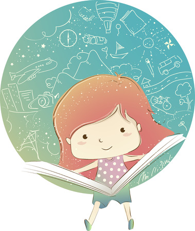 Whimsical Illustration Featuring a Little Girl Reading a Book with Travel Related Doodles as the Background