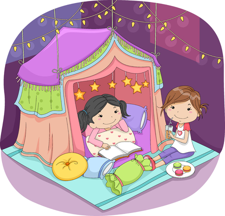 pijamada: Illustration of Cute Little Girls Sleeping in a Fancy Tent Surrounded by Fairy Lights