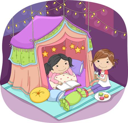 pijamada: Ilustración de las niñas lindas durmiendo en una tienda de lujo rodeado por las luces de hadas Foto de archivo