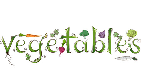 veggie: Typography Illustration Featuring the Word Vegetables Decorated with Different Types of Veggies