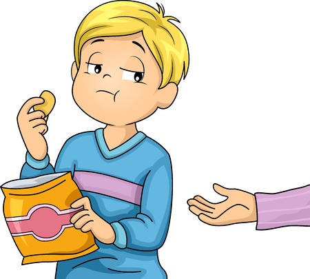 Illustration of a Little Boy Refusing to Share the Snacks He is Eating Archivio Fotografico