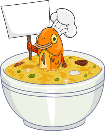 Mascot Illustration of a Toque Wearing Fish in a Bowl of Soup Holding a Blank Board Stock Photo