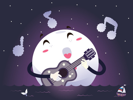 ballad: Romantic Illustration of a Moon Mascot Singing a Love Song as it Strums the Guitar