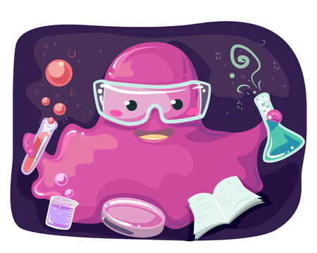 anthropomorphism: Sci-fi Illustration of a Pink Monster Mascot Performing Laboratory Experiments