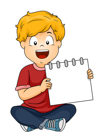 seated: Illustration of a Seated Boy Smiling While Presenting a Blank Notebook