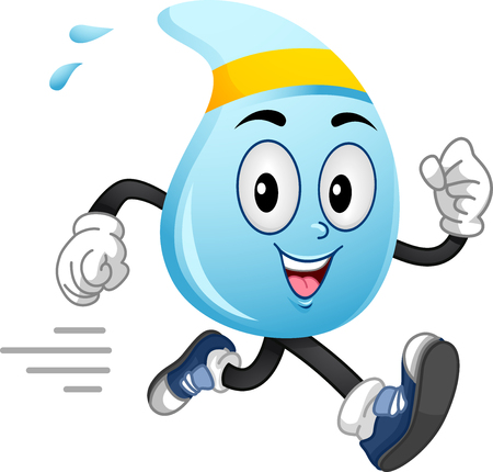 Mascot Illustration of a Water Droplet in Running Gear Going for a Run Stock Photo