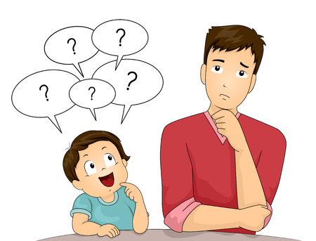 Illustration of a Cute Little Boy with Speech Balloons Hovering Over His Head Asking Questions to His Dad