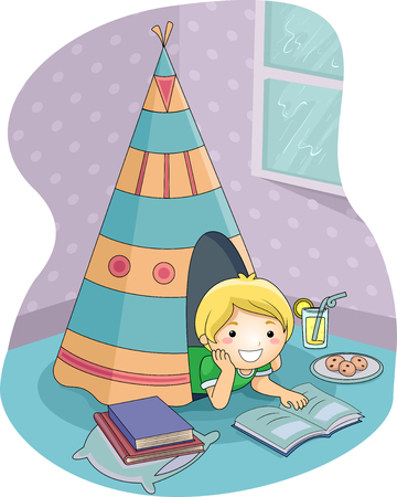 improvised: Illustration of a Cute Little Boy Reading a Storybook from a Homemade Teepee