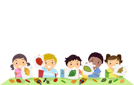 group of kids: Stickman Border Illustration of a Group of Preschool Kids Presenting Leaves with Different Colors Stock Photo