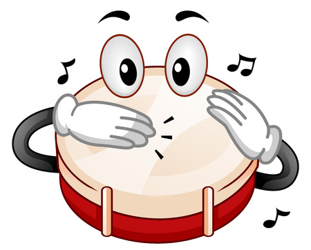 Mascot Illustration Featuring a Snare Drum Tapping its Head with its Hands