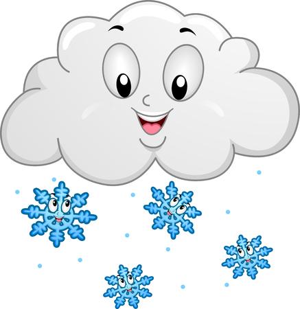 Maskottchen-Abbildung, die glückliche Schneeflocken kennzeichnet, die von einer Regen-Wolke fallen