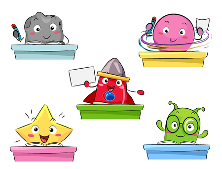 studying classroom: Colorful Mascot Illustration Featuring Space Creatures Studying in a Classroom Stock Photo