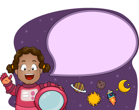 sending: Illustration of a Cute Little Girl in a Spacesuit Sending Her Greetings from the Outer Space