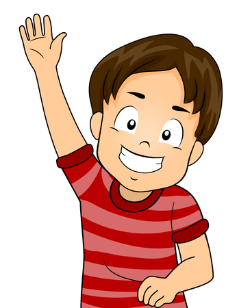 eager: Illustration of a Cute Little Boy Enthusiastically Raising His Hand During a Class Discussion