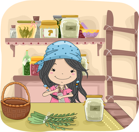 herbs: Illustration of a Cute Little Girl in a Bandanna Mixing Different Herbs to Create a Potion
