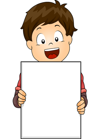 Illustration of a Cute Little Boy Flashing a Wide Smile While Holding a Blank Board Stock Photo