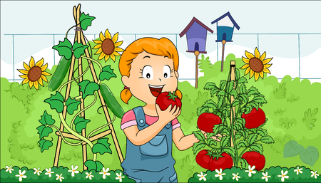 picked: Illustration of a Little Girl Eating a Freshly Picked Tomato from Her Garden