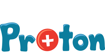 replacing: Typography Illustration Featuring the Word Proton with a Positively Charged Particle Replacing the Letter O