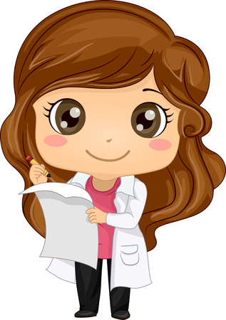 Illustration of a Cute Little Girl in a Laboratory Coat Pretending to Read a Scientific Report