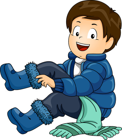 warm clothes: Illustration of a Little Boy Putting on a Set of Winter Clothing One by One