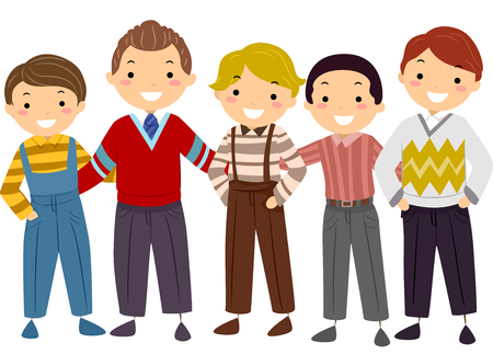 Illustration of a Group of Boys Wearing Iconic Vintage Clothing