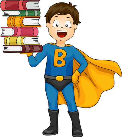 Illustration of a Cute Little Boy in a Superhero Costume Balancing a Stack of Books on His Hand Stock Photo