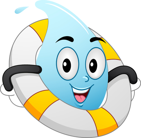 water: Mascot Illustration of a Water Droplet with a Lifebuoy Wrapped Around its Body