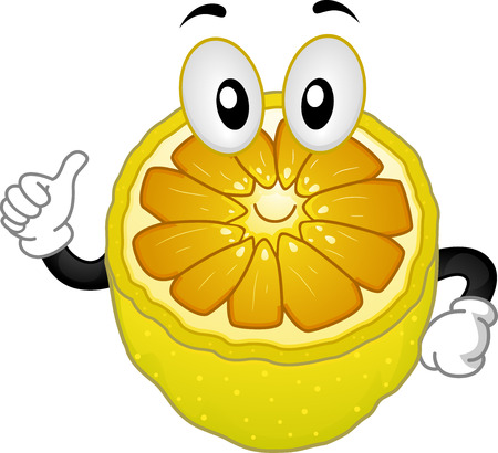 Nutrition Themed Illustration of a Sliced Lemon Mascot Giving a Thumbs Up