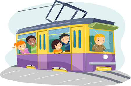 schooler: Stickman Illustration of a Group of Preschool Kids Riding a Mini Tram to School Stock Photo