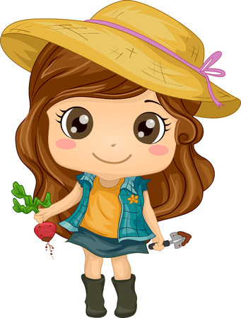 Illustration of a Cute Little Girl Holding a Beet in One Hand and a Trowel in the Other