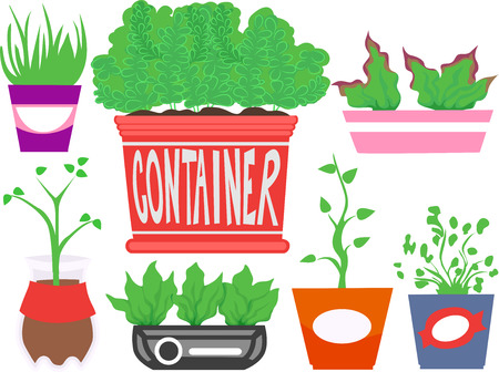 recycled: Typography Illustration Featuring Different Recycled Containers for Indoor Plants Stock Photo