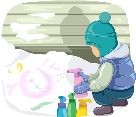 Illustration of a Cute Little Boy in Winter Clothes Spraying Paint on a Pile of Fresh Snow