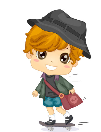 cute little boy: Illustration of a Cute Little Boy Riding a Skateboard on His Way to School Stock Photo