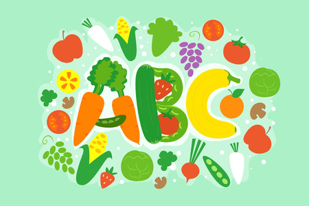 Typography Illustration Featuring Different Vegetables Arranged like the Letters A, B, and C Stock Photo