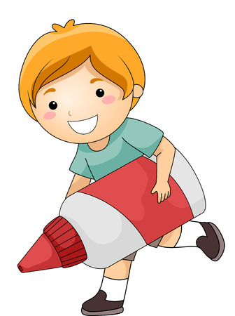 out of use: Illustration of a Cute Little Boy Happily Running While Carrying a Giant Glue