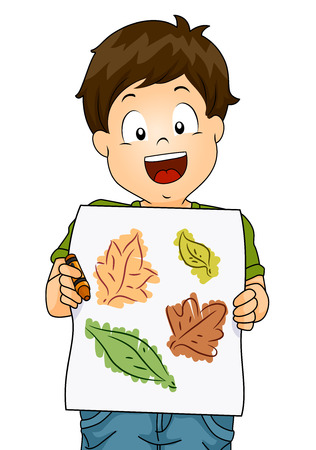 young leaves: Illustration of a Little Boy Presenting His Drawing Made from Tracing the Outlines of Leaves Using Crayons