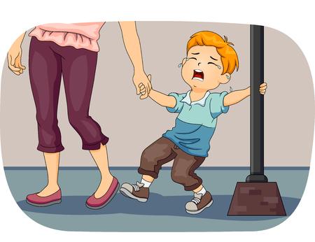 彼を引き離すしようとする自分の母親としての街灯柱にしがみついている間嘆き少年のイラスト 写真素材