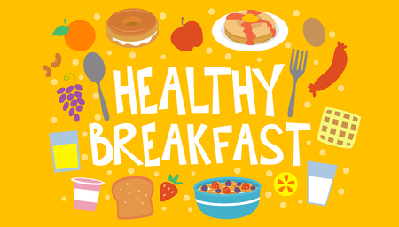 nutritious: Colorful Typography Illustration Featuring the Phrase Healthy Breakfast Surrounded by Nutritious Drinks and Snacks Stock Photo