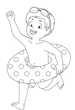 eager: Coloring Page Illustration of a Little Boy with a Lifebuoy Around His Waist Running Excitedly