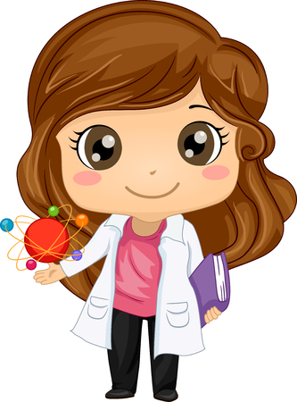 Illustration of a Cute Little Girl in a Laboratory Coat Holding a Book in One Hand and an Atomic Model in the Other Stock Photo