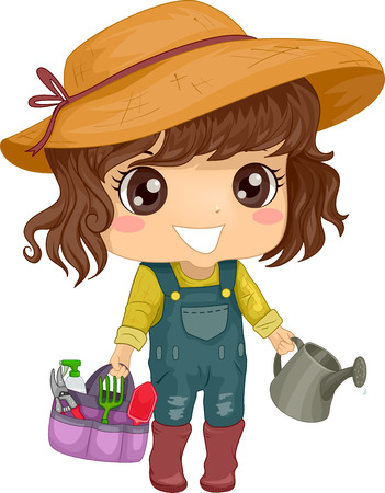 Illustration of a Little Girl in a Jumper and a Sun Hat Carrying Gardening Tools Stock Photo