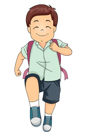 Ilustración de un niño pequeño lindo que marchan felizmente en su camino a la escuela